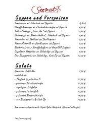 Suppen und Vorspeisen Salate - Restaurant Seenot