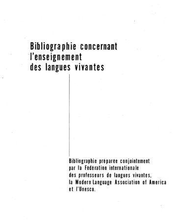 Bibliographie concernant l'enseignement des ... - unesdoc - Unesco