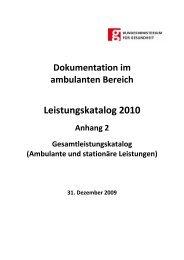 Kompletter Leistungskatalog (ambulanter und stationärer Katalog)