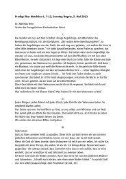 Predigt über Matthäus 6, 7-13, Sonntag Rogate, 5. Mai 2013 Dr ...