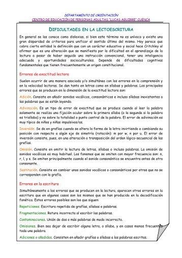 DIFICULTADES EN LA LECTOESCRITURA