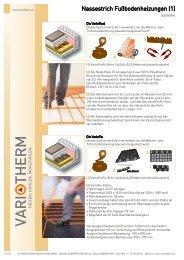 Fußbodenheizung Nassestrich Systeme - Variotherm