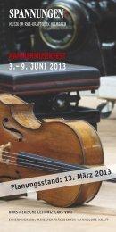 KAMMERMUSIKFEST 3.–9. JUNI 2013 - Spannungen