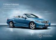 Preisliste Mercedes-Benz E-Klasse Cabriolet (A207) vom 10.08.2012.