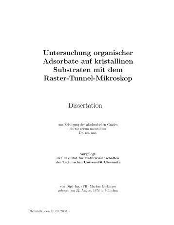 Untersuchung organischer Adsorbate auf ... - Markus Lackinger