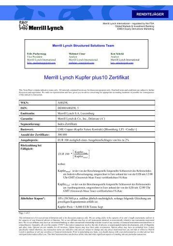 Merrill Lynch Kupfer plus10 Zertifikat
