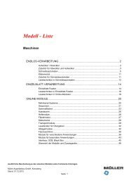 Modell - Liste - Müller Apparatebau GmbH