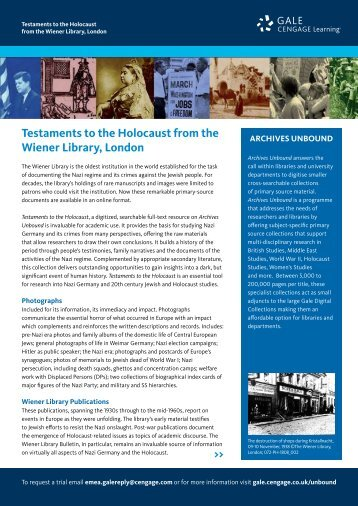 Testaments to the Holocaust from the Wiener Library, London - Gale