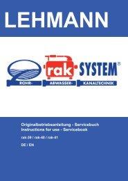 Originalbetriebsanleitung - Servicebuch Instructions for use ...