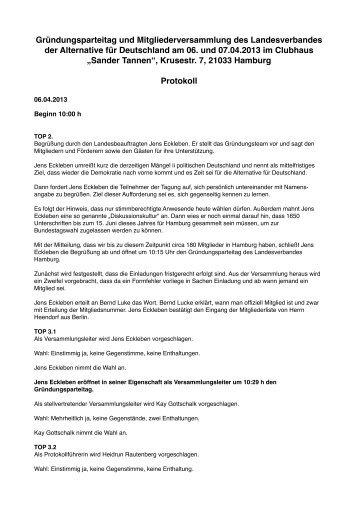 Protokoll - Alternative für Deutschland - Hamburg