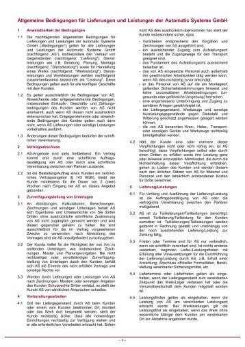 Allgemeine Bedingungen für Lieferungen und Leistungen der ...