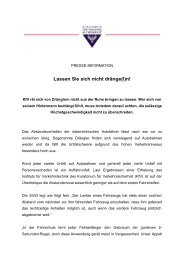 Presseaussendung: Lassen Sie sich nicht dränge(l)n! - KfV