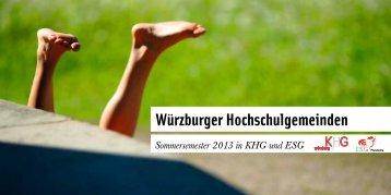 Würzburger Hochschulgemeinden | Programm Sommersemester 2013