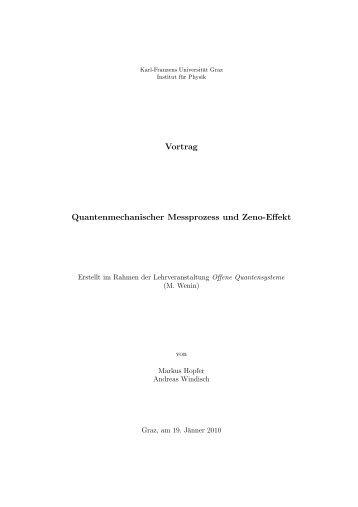 Vortrag Quantenmechanischer Messprozess und Zeno-Effekt