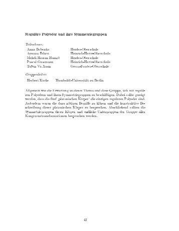 Reguläre Polyeder und ihre Symmetriegruppen - Mathematik und ...