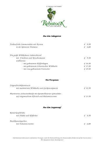 Speisekarte (PDF) - Landgasthof Rebstock Sulzburg
