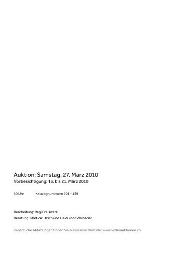 Auktion: Samstag, 27. März 2010 - Koller Auktionen