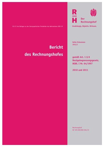Einkommensbericht des Rechnungshofes 2012 - Der Rechnungshof