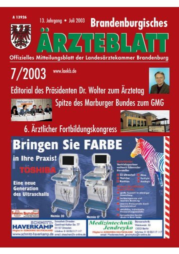 Brandenburgisches Ärzteblatt 07/2003 - Landesärztekammer ...