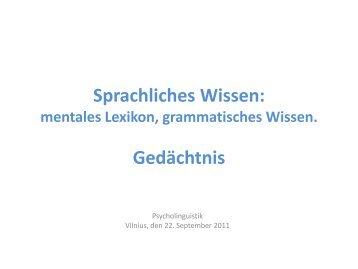 Sprachliches Wissen: mentales Lexikon, grammatisches Wissen