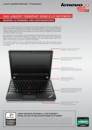 DAS LENOVO® THINKPAD® EDGE E135 NOTEBOOK