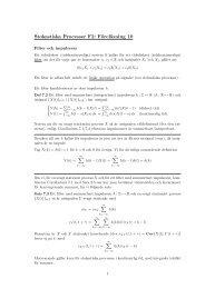 Stokastiska Processer F2: Föreläsning 10