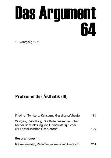 Probleme der Ästhetik (III) - Berliner Institut für kritische Theorie eV