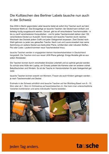 Die Kulttaschen des Berliner Labels tausche nun ... - tausche Taschen