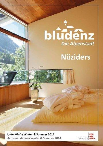 Unterkunftsverzeichnis Bludenz/Nüziders 2014