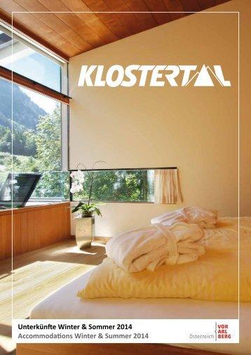 Unterkunftsverzeichnis Klostertal 2014