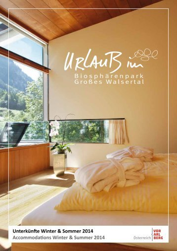 Unterkunftsliste Großes Walsertal 2014