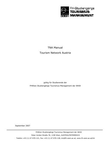 TNA Manual Tourism Network Austria