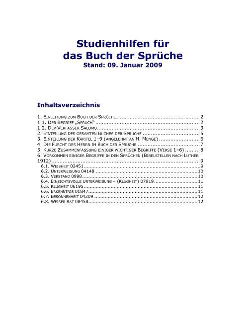 Beau Studienhilfen Für Das Buch Der Sprüche   Christen In Gummersbach