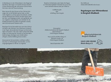 Regelungen zum Winterdienst in Bergisch Gladbach