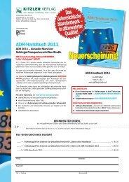 ADR-Handbuch 2011 - Kitzler Verlag