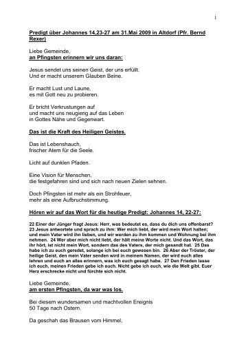 Predigt über Johannes 14,23-27 am 31.Mai 2009 in Altdorf (Pfr ...