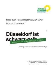Rede zum Haushaltsplanentwurf 2012 Norbert Czerwinski