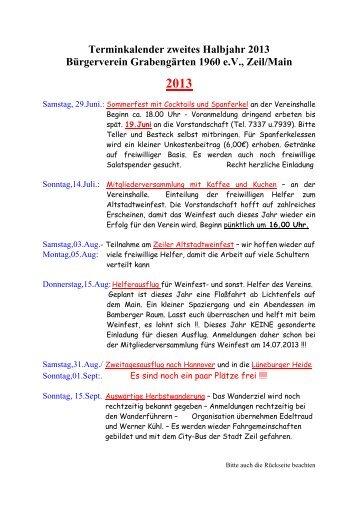 Ansicht Terminkalender 2013, 2. Halbjahr - Grabengaerten.de