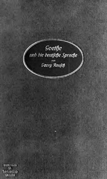 Goethe und die deutsche Sprache