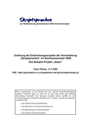 """Skriptsprachen"" im Sommersemester 2009 Das ... - AG-Kastens"