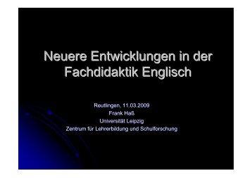 Neuere Entwicklungen in der Fachdidaktik Englisch - Staatliches ...