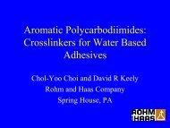 Crosslinkers for Water Based Adhesives - PSTC. Pressure Sensitive ...