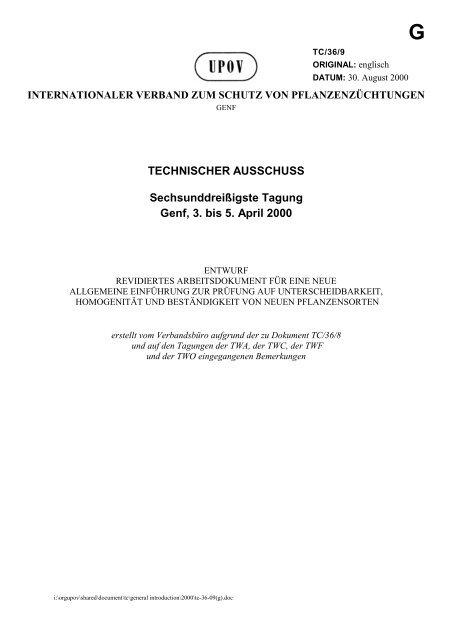 TECHNISCHER AUSSCHUSS Sechsunddreißigste Tagung Genf, 3 ...