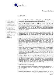 Evotec und Roche vereinbaren Entwicklung von EVT 101 in der ...