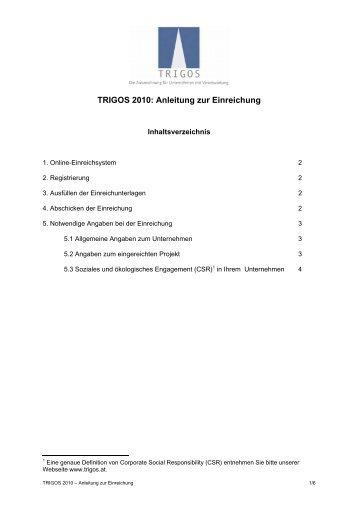 TRIGOS 2010: Anleitung zur Einreichung
