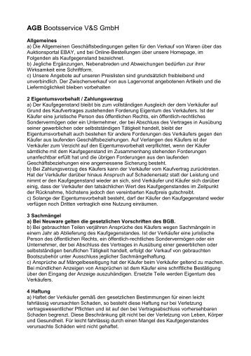 AGB Bootsservice V&S Gmbh - bootsservice-vs göttingen