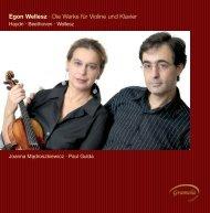 Egon Wellesz · Die Werke für Violine und Klavier - Naxos Music ...