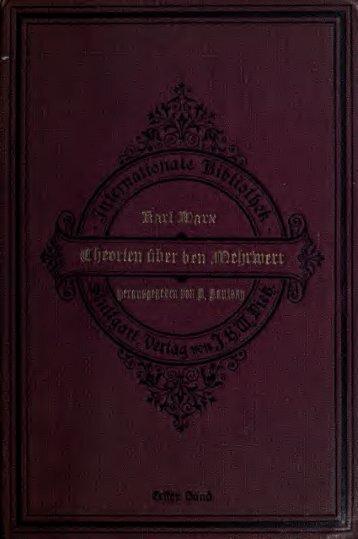 Theorien über den mehrwert; aus dem nachgelassenen manuskript ...