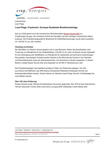 Loon-Plage, Frankreich: Europas flexibelste ... - CropEnergies AG