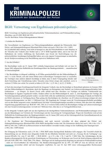 BGH: Verwertung von Ergebnissen präventivpolizei- - Die ...